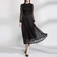 Acrylic   Lace One-piece Dress hollow leaf pattern Sold By PC