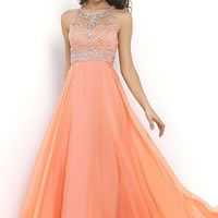 Chiffon Long Evening Dress backless floor-length & transparent with Sequin patchwork Sold By PC