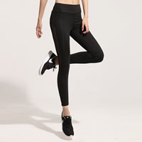 Spandex   Polyester Women Yoga Pants skinny   transparent with Gauze patchwork black Sold By PC