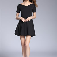Roma One-piece Dress with Roma plain dyed Solid black Sold By PC