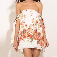 Chiffon One-piece Dress backless short front long back printed floral white Sold By PC