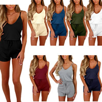 Spandex & Polyester Middle Waist Women Romper without belt skinny plain dyed Solid Sold By PC