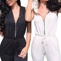 Polyester Middle Waist Long Jumpsuit without belt skinny & hollow plain dyed Solid Sold By PC