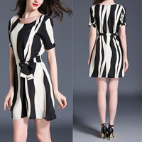 Chiffon One-piece Dress printed striped Sold By PC
