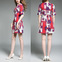 Chiffon A-line One-piece Dress printed shivering red Sold By PC