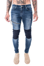 Cotton Denim Middle Waist Men Pencil Pants skinny washed patchwork blue Sold By PC