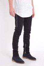 Cotton Middle Waist Men Pencil Pants skinny washed patchwork black Sold By PC