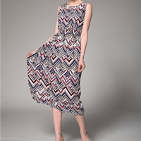 Cotton A-line Beach Dress mid-calf printed geometric Sold By PC