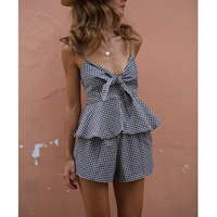 Chemical Fiber & Cotton Middle Waist Women Romper without belt & backless false two piece printed plaid black Sold By PC