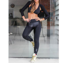 PU Leather   Polyester Women Yoga Pants patchwork black Sold By PC