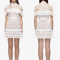 Lace Short Evening Dress hollow & transparent patchwork white Sold By PC
