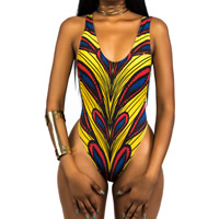 Polyester One-piece Swimsuit backless skinny style printed striped yellow Sold By PC