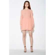 Polyester High Waist One-piece Dress loose & transparent ruffles Solid pink Sold By PC