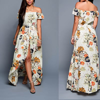 Cotton front slit   Asymmetrical Beach Dress backless off shoulder   tube printed floral Sold By PC