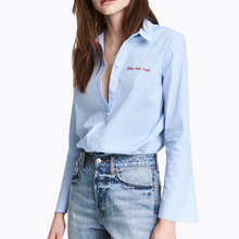Cotton Women Long Sleeve Shirt embroidered letter blue Sold By PC