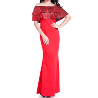 Nylon Long Evening Dress backless off shoulder & ankle-length plain dyed patchwork red Sold By PC
