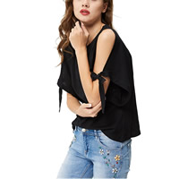 Cotton Women Short Sleeve T-Shirts off shoulder   loose plain dyed Solid black Sold By PC