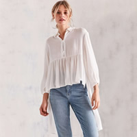Polyester Asymmetrical Women Long Sleeve Blouses side slit short front long back   transparent plain dyed Solid white Sold By PC