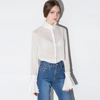 Polyester Women Long Sleeve Shirt hollow & transparent plain dyed Solid white Sold By PC