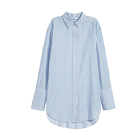 Polyester & Cotton Women Long Sleeve Shirt short front long back & loose printed striped blue Sold By PC
