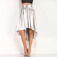 Mixed Fabric & Cotton Pleated & A-line & Asymmetrical Skirt short front long back Solid silver Sold By PC