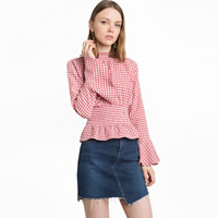 Polyester Women Long Sleeve Blouses ruffles plaid pink Sold By PC