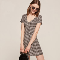 Polyester   Cotton A-line   High Waist One-piece Dress printed plaid Sold By PC