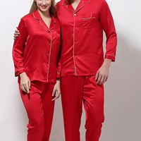 Polyester Couple Summer Pajama Set imitation silk & different styles for choice & breathable patchwork Solid red Sold By Set