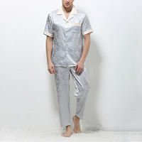 Silk Men Summer Pajama Set imitation silk   breathable patchwork Solid silver Sold By Set