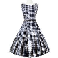 Cotton Ball Gown One-piece Dress with belt printed plaid Navy Blue Sold By PC
