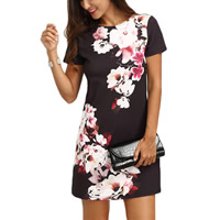 Polyester One-piece Dress loose printed floral black Sold By PC