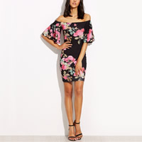 Milk Silk One-piece Dress backless off shoulder & loose & tube printed floral black Sold By PC