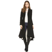 Polyester Women Trench Coat short front long back ruffles Solid black Sold By PC