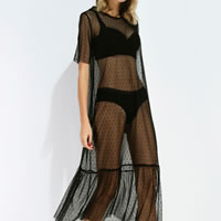 Lace Swimming Cover Ups loose   transparent dot black Sold By PC
