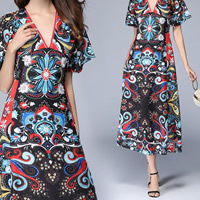 Polyester One-piece Dress mid-long style mid-calf printed floral Sold By PC