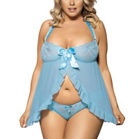 Gauze & Lace Plus Size Sexy Dress transparent thong embroidered patchwork light blue Sold By PC