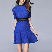 Acetate & Polyester Miracle Tassel One-piece Dress slimming hollow with Lace embroidered patchwork Sold By PC