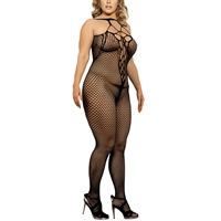 Nylon   Spandex Plus Size Sexy Body Stocking hollow   transparent patchwork Solid black Sold By PC