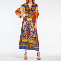 Poplin Princess   High Waist Beach Dress deep V printed shivering multi-colored Sold By PC