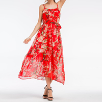Chiffon Princess Beach Dress slimming with belt   loose   mid-calf printed shivering red Sold By PC