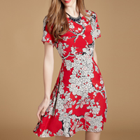 Natural Silk A-line One-piece Dress mid-long style   slimming printed floral Sold By PC