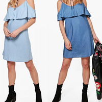 Cotton Slip Dress backless off shoulder patchwork Solid Sold By PC