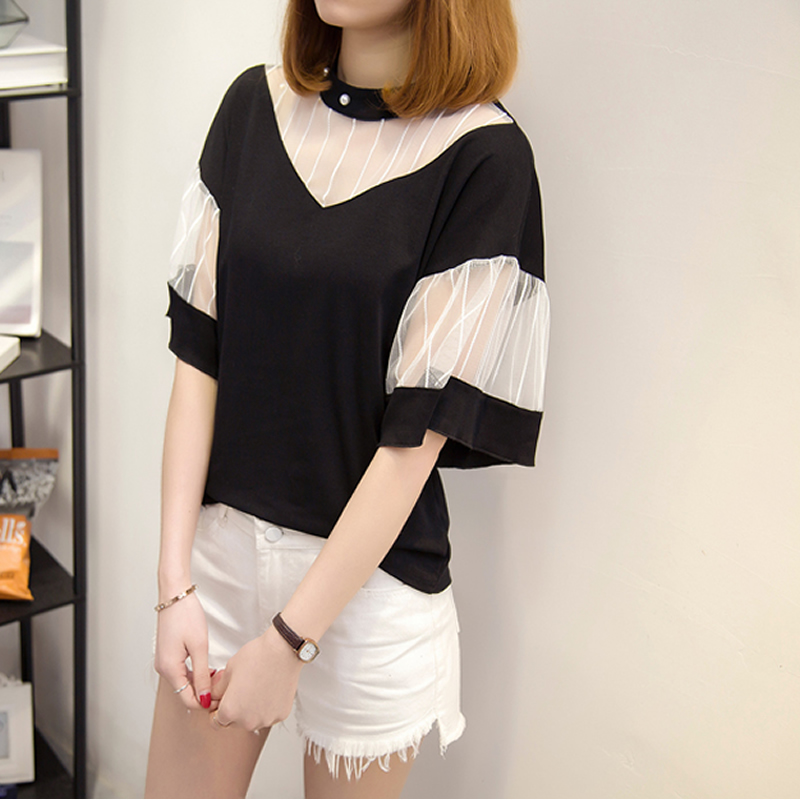 Cotton Women Five Point Sleeve T-shirt transparent patchwork Solid Sold By PC