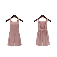 Cotton Plus Size Women Suspender Short loose   different styles for choice plain dyed Solid pink Sold By PC