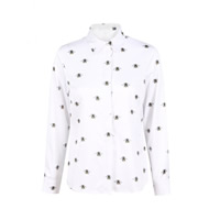 Spandex & Polyester Women Long Sleeve Shirt printed animal prints white Sold By PC
