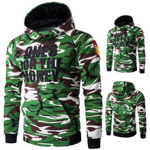 Cotton Men Sweatshirts printed camouflage army green Sold By PC