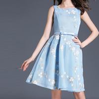 Spandex One-piece Dress mid-long style & slimming with belt embroidered floral blue Sold By PC