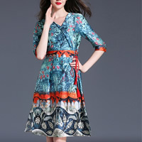 Polyester A-line One-piece Dress mid-long style & slimming breathable printed floral blue Sold By PC