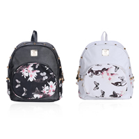 PU Leather Backpack studded with Zinc Alloy & Polyester floral Sold By PC