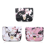 PU Leather Crossbody Bag with Zinc Alloy & Polyester floral Sold By PC